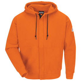 Bulwark Zip Front Fleece CAT 2 FR Hooded Sweatshirt - Front view of orange Bulwark long sleeve work shirt with a zipper going down the front a two strings on the hood. There is a Bulwark logo on the left arm.