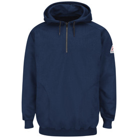 Bulwark FR CAT 2 Fleece Hooded Pullover Sweatshirt - Front view of Navy Bulwark long sleeve pull over sweatshirt with a zipper on the neck and two strings on the hood. There is a Bulwark logo on the left arm.
