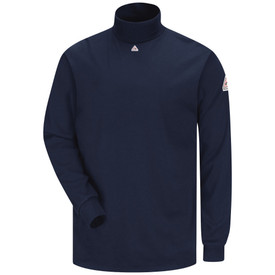 Bulwark CAT 2 Long Sleeve Tagless FR Turtleneck - Front view of Navy Bulwark long sleeve turtleneck shirt with a high neck and a Bulwark logo just below the neck and another one on the left arm.