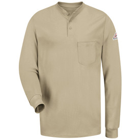 Bulwark FR Tagless Long Sleeve CAT 2 Henley Shirt - Front view of khaki Bulwark long sleeve work shirt with three buttons on the neck and a pocket on the left side of the chest. There is also a Bulwark logo on the left arm.