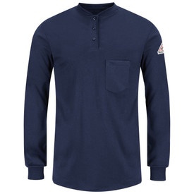 Bulwark Tagless CAT 2 FR Cotton Long Sleeve Henley Shirt - Front view of Navy Bulwark long sleeve work shirt with three buttons going down the neck and a pocket on the left side of the chest. There is also a Bulwark logo on the left arm.