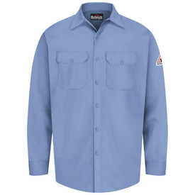 Bulwark 7 oz FR Cotton Button Front CAT 1 Work Shirt - Light blue Bulwark long sleeve work shirt with collar and cuffs. 2 Front chest pockets with flap and buttons.  Front button. Front view.