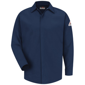 Bulwark FR 7 oz  CAT 2 Pocketless Shirt - Navy Bulwark long sleeve work shirt with collar and cuffs.  Pocketless. Concealed front buttons. Front view.