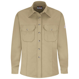 Bulwark Women's 7 oz FR CAT 2 Dress Uniform Shirt - Khaki Bulwark long sleeve work shirt  with collar and cuffs.  2 Front chest pockets with flap and nickel plated buttons. 2 Front pleats. Front view.