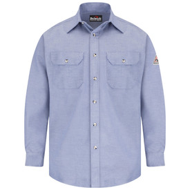 Bulwark 5.5 oz FR CAT 1 Uniform Dress Shirt - Light blue Bulwark long sleeve work shirt  with cuffs and collar. With left arm patches and back pleats. 2 Front chest pockets with flap and nickel plated collar. Button front. Front view.