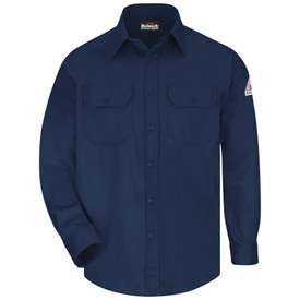 Bulwark 6 oz Button Down CAT 2 FR Uniform Shirt - Navy blue Bulwark long sleeve work shirt with cuffs and collar.  2 Front pockets with flap and button closure. Front flap closure. Front view.