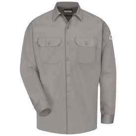 Bulwark 7 oz 2 Pocket CAT 2 FR Work Shirt - Grey Bulwark long sleeve work shirt  with collar and cuffs.  2 Front pockets with flap and button closure. Button flap closure. Front view.