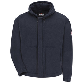 Bulwark 8 oz FR Zipper Front CAT 2 Hooded Sweatshirt - Navy Bulwark long sleeve sweatshirt with pull-over hood and cuffs. With gartered waistline band. With drawstring-hood.  Pocketless. Front view.