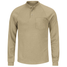 Bulwark 6.5 oz Long Sleeve 3 Button CAT 2 FR Henley - Khaki Bulwark long sleeve t-shirt work shirt with cuffs and trim collar.  1 Front chest pocket. 3 Nickel plated front button placket. Front view.