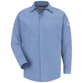 Bulwark 7 oz  FR Long Sleeve CAT 2 Pocketless Work Shirt - Light blue Bulwark long sleeve work shirt with collar and cuffs. Pocketless. Front view.
