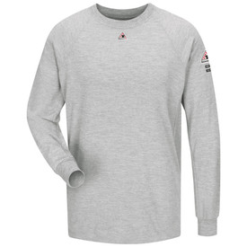 Bulwark FR CAT 2 Long Sleeve Performance T Shirt - Grey Bulwark long sleeve t-shirt with cuffs and trim collar. With left arm and front patches. Pocketless. Front view.