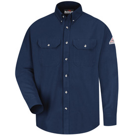 Bulwark CAT 2 FR Long Sleeve 7 oz FR Dress Uniform Shirt - Navy blue Bulwark long sleeve work shirt with collar and cuffs. 2 Front chest pockets with flap and nickel plated buttons.  Buttons up. Front view.