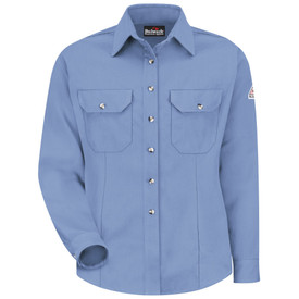 Bulwark Women's NFPA CAT 2 Button Front Dress Uniform Shirt - Light blue Bulwark long sleeve work shirt with collar and cuffs.  2 Front pockets with flap and nickel plated button. With front pleats. Front view.