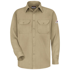Bulwark CAT 1 FR Button Front 5.8 oz Uniform Shirt - Khaki Bulwark long sleeve work shirt with collar and cuffs.  2 Front pockets with flap and nickel plated buttons. Button closure. Front view.