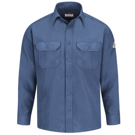 Bulwark 4.5 oz FR Nomex  Button Front CAT 1 Uniform Shirt - Gulf blue Bulwark long sleeve work shirt with collar and cuffs. With left arm patches and back pleats. 2 Front chest pockets with flap and button closure. Front view.