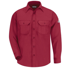 Bulwark 6 oz Nomex Button Front CAT 1 FR Uniform Shirt - Red blue Bulwark long sleeve work shirt with cuffs and collar.  2 Front chest pockets with flap and button closure. Button front. Front view.