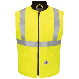Bulwark High Vis CAT 4 FR Insulated Vest - Yellow Bulwark insulated vest with black trim collar. With grey single reflector on upper shoulder and lower waist. Zip-front. Pocketless. Front view.