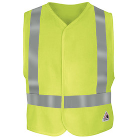 Bulwark 7 oz FR Hook and Loop CAT 2 Hi Viz Vest - Yellow Bulwark safety vest with trim collar and sleeve trim. With grey single reflector band on lower/upper waist and on shoulder. With hoop and loop closure. With front patches. Front view.