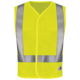 Bulwark 6.5 oz Hi Viz CAT 1 FR Mesh Safety Vest - Yellow Bulwark short sleeve mesh safety vest with trim collar and sleeve. With grey single reflector on upper/lower waist and shoulder. With hoop and loop closure. With front view patches. Front view.