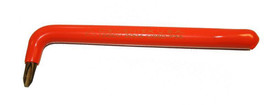 Cementex Offset Phillips Tip Screwdriver - Cementex Long offset red insulated screwdriver with a 90 degree bend at  1/10th end of length.