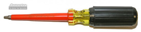 Cementex Robertson Insulated Cushion Grip Screwdriver -Cementex screwdriver with red shaft and yellow handle with black cushion grip coating.