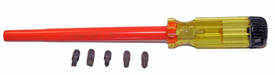 Cementex Insulated Multi Bit Magnetic Tip Screwdriver - Cementex magnetic tip screwdriver with long red insulated shaft, set of 5 magnetic tips with yellow handle and the bottom of the handle is black.
