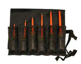 Cementex 6 PC Composite or Cabinet Tip Screwdriver Rolls - 6 Cementex Insulated Screwdrivers with a red shaft and black cushion grip handle individually lying flat  in a mesh slot in a black roll pouch.