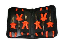 Cementex Long Reach Insulated Mini Pliers - 6 mini pliers in an open black fold zipper case with 3 pliers on both sides. Each Plier has red over yellow double insulated coating with a long steel nose