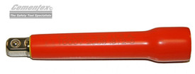 Cementex Voltage Rated Insulated 1/4 Inch Flared Extension Bars - Red insulated extension bar with one end expanded and one end has square steel fitting.