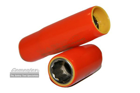 Cementex Insulated 3/8 In 12 Pt Deep Wall Square Drive Sockets - 2 Red insulated sockets.