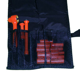 Cementex 1/4 Inch Insulated Square Drive Pouch Sets - Square Drive Insulated orange Ratchet, a short and a long insulated orange extension bar and 10 insulated orange sockets laying flat in an open pouch and tucked in mesh sleeves.