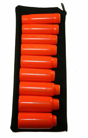 Cementex Insulated 3/8 Inch 12 Point Stand Wall Square Drive Sets - 9 red insulated sockets lined up on laying on a black pouch.