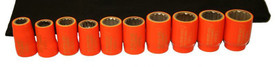 Cementex Insulated Metric 3/8 Inch Standard Square Driver Sets - 9 red insulated sockets lined up on laying on a black pouch.