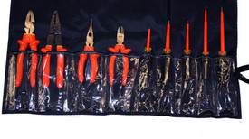 Cementex 9 PC Insulated Electricians Service Roll - 9 piece insulated tool kit with linesman's pliers, diagonal cut pliers, chain nose pliers, wire stripper and 5 screwdrivers.