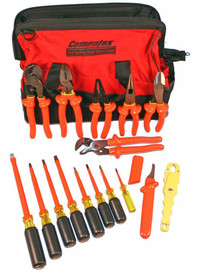 Cementex Insulated 24 Pc Linesman Electrical Tool Chests - 24 Piece Insulated tool set with linesman's pliers, diagonal cut pliers, chain nose pliers, strippers, cable cutter, crimper, water pump pliers, 6 nut drivers, 3 cabinet tip screwdrivers, 3 Phillips tip screwdrivers, 2 screw starters and insulated knife.