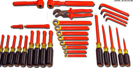 Cementex Super Deluxe Tool Set with 39 insulated orange tools including torque wrench, square drive ratchet, extension bars, wall sockets, pliers, L Wrenches, Box end wrenches, nut drivers and screw drivers in a tool box.