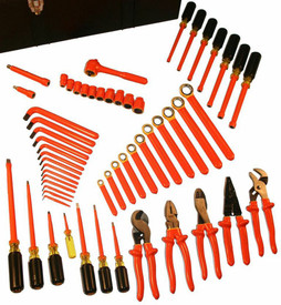 Cementex MRO Super Deluxe Insulated Tool Kits - 60 Piece insulated tool set with square drive torque wrench, 13 long arm hex L wrenches,  11 box end wrenches, 7 nut drivers, 10 sockets, square drive ratchet, 2 extension bars, linesman's pliers, diagonal cut pliers, chain nose pliers, cable cutters, crimper, wire stripper, water pump pliers, 4 cabinet tip screwdrivers, 2 Phillips tip screwdrivers and 1 mechanics tip screwdrivers.