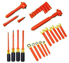 Cementex Insulated Voltage Rated Battery Tool Kits - 24 piece insulated tool kit with square drive torque wrench, square drive ratchet, 2 extension bars, 8 wall sockets, 3 open end wrenches, 4 ratcheting box end wrenches, 2 nut drivers, 1 cabinet tip screwdriver and 1 Phillips tip screwdriver.