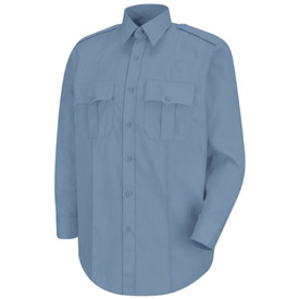 Horace Small Women's Long Sleeve Stretch Poplin Shirt - Front View of Light Blue Long Sleeve Women's Police Shirt with banded collar and 3 buttoned cuff, Center front placket and 2 Front chest pockets and scalloped flaps with front pleats. Darts on each side. Front view.