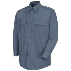 Horace Small Deputy Long Sleeve Shirt - Horace Small French blue women's long sleeve law enforcement shirt with banded collar, 3 button cuff with placket, 2 front chest pleated pockets with scallop button flaps and 2 front darts. 7 Button Font Closure. Front view.