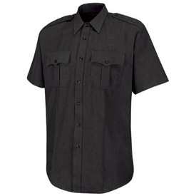 Horace Small Men's Break Resistant Button Shirt - Horace Small black short sleeve police shirt with banded collar, 2 Front pleated pockets with scalloped flaps, permanent creases on each side of the shirt and 7 button front closure. Front view.