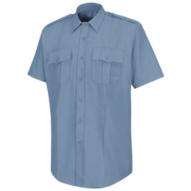 Horace Small Women's Deputy Deluxe Short Sleeve Shirt - light blue women's short sleeve officer shirt with collar, Badge tab, 7 button-center front placket closure, 2 Pleated front pockets with scalloped flaps and a permanent crease on the left and right side full length of the shirt. Front view.