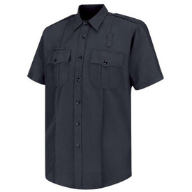 Horace Small Women's Sentry Short Sleeve Badge Shirt - black short sleeve police officer shirt with collar, 7 button-center front placket closure, Badge Tab, Name Plate Holder,  2 Pleated front pockets with scalloped flaps and a permanent crease on the left and right side full length of the shirt. Front view.