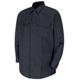 Horace Small Long Sleeve Concealed Button Front Shirt - dark navy short sleeve police officer shirt with collar, concealed front button closure, 2  front pockets with flaps and a permanent crease on the left and right side full length of the shirt. Front view.