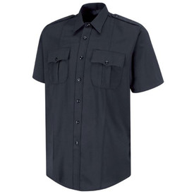 Horace Small Short Sleeve Stretch Uniform Shirt - dark navy short sleeve police officer shirt with collar,7 front placket button closure, 2  front pleated pockets with scalloped flaps and a permanent crease on the left and right side of the shirt. Front view.