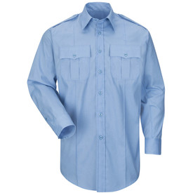 Horace Small Long Sleeve Men's Stretch Shirt - light blue long sleeve officer men's shirt with banded collar, 2 buttoned cuffs, 2 Front pleated chest pockets and scalloped flaps and a permanent on each front side of the shirt. Front view.