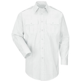 Horace Small Women's Long Sleeve Poplin Uniform Shirt - white long sleeve officer women's shirt with banded collar, 2 buttoned cuffs, 2 Front pleated chest pockets and scalloped flaps and a permanent on each front side of the shirt. Front view.