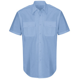 Horace Small Men's Poplin Short Sleeve Button Front Shirt - light blue short sleeve office shirt with collar, 2 Front pleated scallop pocket flaps, 7 button placket front closure and permanent crease on the left and right side of the shirt. Front view.