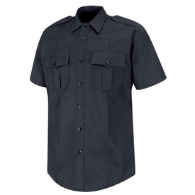 Horace Small Cotton Unisex Long Sleeve Uniform Shirt - dark navy short sleeve station shirt with collar, 2 Front pleated scallop pocket flaps, Shoulder Epaulets, 7 button placket front closure and permanent crease on the left and right side of the shirt. Front view.