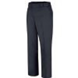 Horace Small Men's Durable Weave Uniform Trouser - Front view of Horace Small Dark Navy office uniform trousers with wide waist band large belt loops and front slash hip pocket.